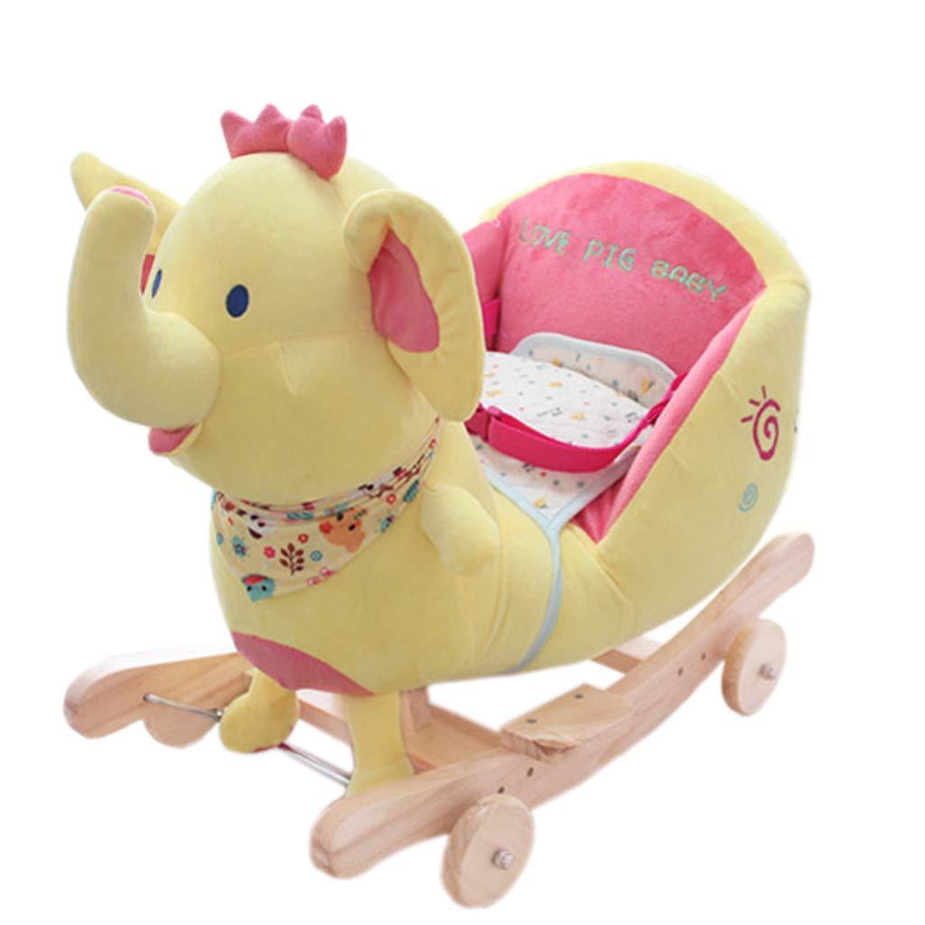 子供ロッキングホース環境保護ソリッドウッド素材ロッキングホース赤ちゃん知育玩具赤ちゃんロッキングクレードル (色 : イエロー いえろ゜)  イエロー いえろ゜ B07MX4P6FK