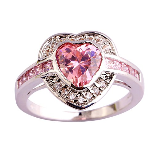 Emsione 925 Sterling Silver Plated Created Heart Pink Topaz Halo Womens - Hearts Plated Silver Ring Sterling