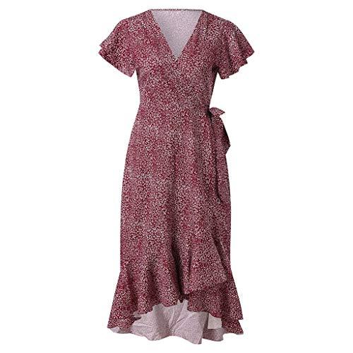 URIBAKE 2019 Women's Elegant Flounce Print Dress Short Sleeveless Ruffles Party Casual Bandage Dresses Red