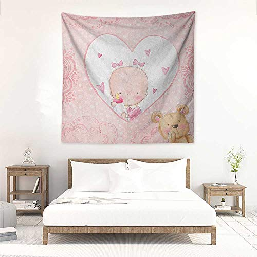 Gender Reveal Square Tapestry Wall Hanging Girls Baby with Teddy Bear Flowers Hearts and Polka Dots Print Literary Small Fresh 32W x 32L INCH Pale Pink and Sand ()