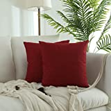 Kevin Textile Retro Farmhouse Checkered Weaving Cotton Linen Decorative Throw Pillow Case Cushion Cover Pillowcase for Sofa, Set of 2, 18inch (45cm), Chilli Pepper Red