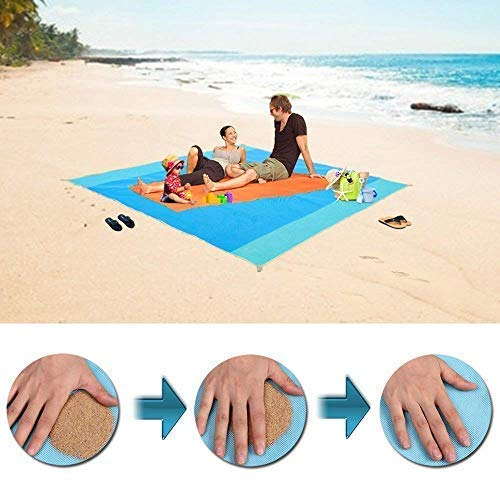 Sand Free Beach Mat/Water Resistant Sandless Blanket -Dirt & Dust Disappear,Easy to Clean,Quick Dry and Portable, Sand Proof Picnic Mat for Beaches,Parks,Camping,Family Travel Outdoor Activities ()