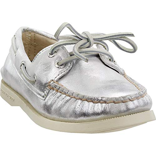 SPERRY Womens Authentic Original 2-Eye Metallic Casual Flats Shoes, Silver, 7.5