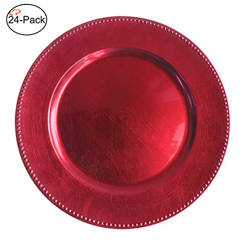 Tiger Chef 13-inch Fuchsia Round Beaded Charger Plate, Set of 2,4,6, 12 or 24 Dinner Chargers (24-Pack)