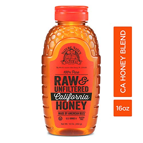 Nature Nate's 100% Pure Raw & Unfiltered California Honey; 16-oz. Squeeze Bottle; Certified Gluten Free and OU Kosher Certified; Made by California Bees, Enjoy Honey's Balanced Flavors and Goodness