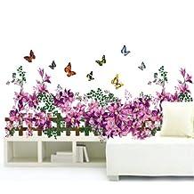 Prettywall Home Decorative Mural Decal Art Vinyl Wall Sticker Purple Flowers Fence with Dancing Butterflies Wallpaper