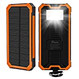 : 15000mAh Solar Charger F.Dorla Portable Power Bank Solar Phone Charger Waterproof Dual USB Battery Charger External Backup Battery with Flashlight for Cellphone iPhone Samsung Android iPad (Orange)