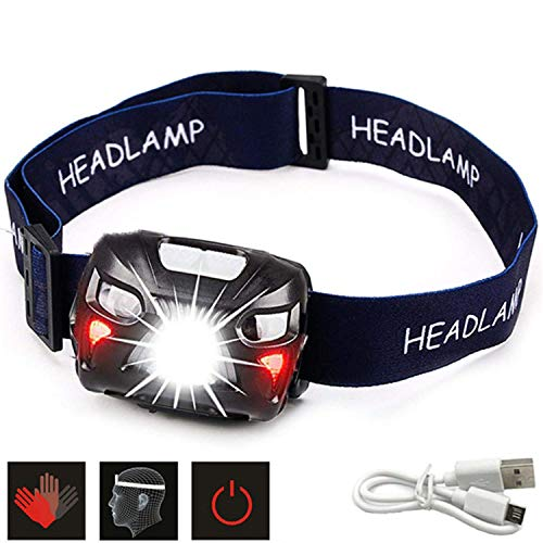 Headlamp - Rechargeable USB Headlight - Head Torch with One Bright White and Two Red Lights - Led Head Lantern for Dog Walking, Running and Camping