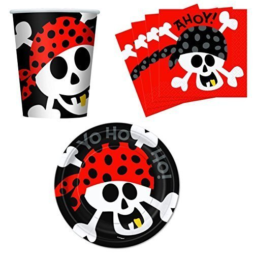 Ahoy! Pirate Birthday Party Supplies Set Plates Napkins Cups Kit for 16 by Unique -