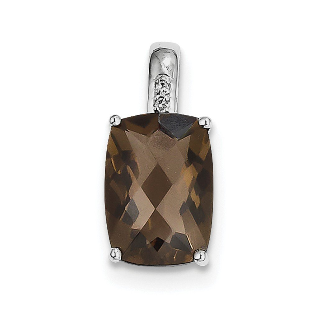 21mm x 10mm Simulated Smoky Quartz and Diamond Pendant 0.01cttw 925 Sterling Silver