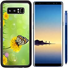 MSD Premium Samsung Galaxy Note8 Aluminum Backplate Bumper Snap Case IMAGE ID 19803172 Summer background with dandelions and a butterfly Vector