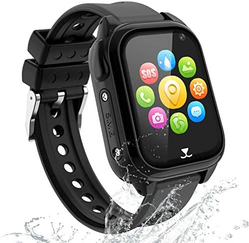 Kids Smartwatch Phone – IP67 Waterproof GPS Tracker Smartwatch for Boys Girls, Voice Chat SOS Remote Monitoring Safe Zone Alarm Camera Birthday for Kids (Black)
