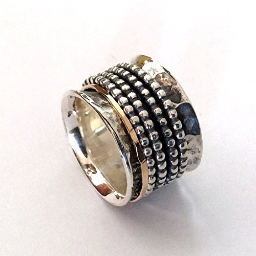 Amazon Boho spinner ring Silver Gold ring wide band Stacking