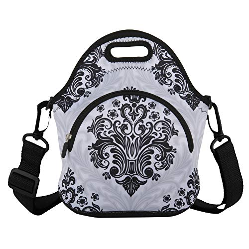 Classic Lunch Bag with Zipper Pocket and Adjustable Detachable Strap Neoprene Lunch Box Insulated Waterproof bags School Travel Picnic Office Lunch Tote for Women Adults Students