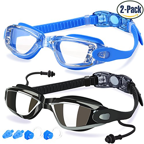 Swim Goggles, Pack of 2, Swimming Goggles for Adult Men Women Youth Kids Child, Triathlon Equipment, with Mirrored & Clear Anti-Fog, Waterproof, UV 400 Protection Lenses, Made by (Aqua Contact Lenses)
