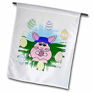 SmudgeArt Animal Designs - Pink Bunny - 18 x 27 inch Garden Flag (fl_7151_2)