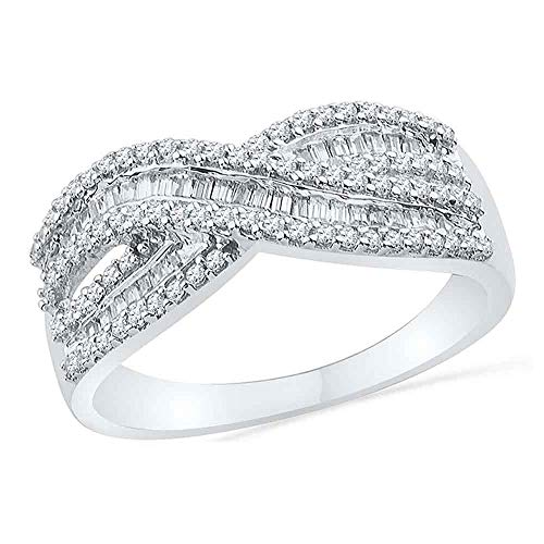 Dazzlingrock Collection 10kt White Gold Womens Round Baguette Diamond Crossover Band Ring 1/2 Cttw