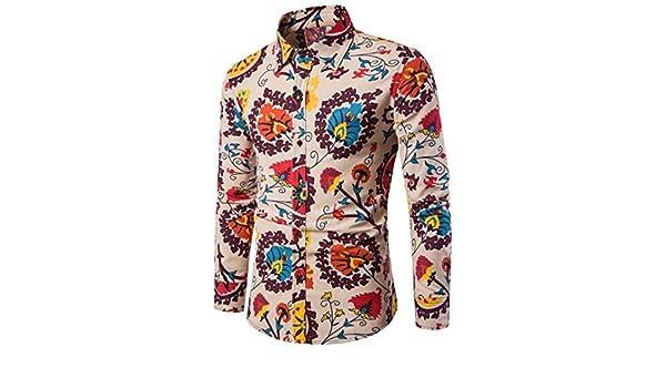 Camisa de Hombre Moda Personalidad Retro Floral Impreso Manga Larga Negocio Ajustado Básica Botón Formal Autocultivo Casual Camiseta para Hombre Tops Blusa ...
