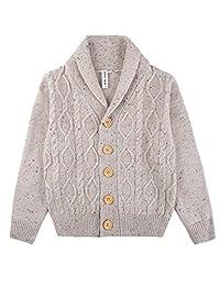 HeMa Island HMD Kids Boys Oatmeal Shawl Sweater For Toddler 3 To 9 Years