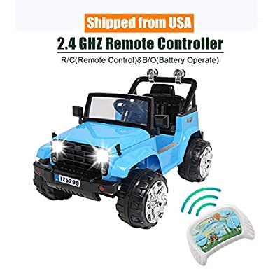 Rajmarti Upgraded Stronger Ride on Truck for Kids, 12V Battery Electric Car with Remote Control, Children Powered Car Vehicle with Double Drive/Seat Belt/LED Headlights/MP3/USB Jack/Horn (Blue): Toys & Games