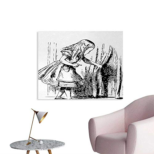 Tudouhoho Alice in Wonderland Poster Print Black and White Alice Looking Through Curtains Hidden Door Adventure Painting Post Black White W36 xL24