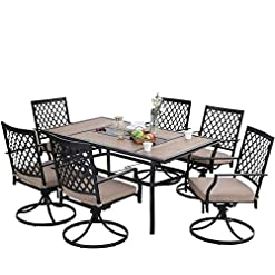 Garden and Outdoor PHI VILLA Outdoor Patio Dining Set of 7 Metal Furniture Set, 6 Swivel Chairs with 1 Rectangular Umbrella Hole Wood Like… patio dining sets