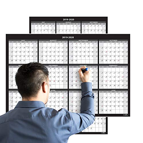 Large Annual Erasable Laminated Wall Calendar, 24 x 36 Inch, 2-Sided Reversible Vertical/Horizontal, Mounting Tape Included (Jul 2019 - Jun 2020)
