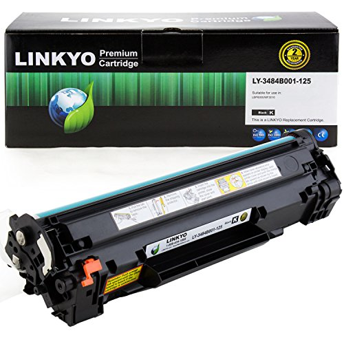 Compatible Black Toner Refill - LINKYO Compatible Toner Cartridge Replacement for Canon 125 3484B001AA (Black)