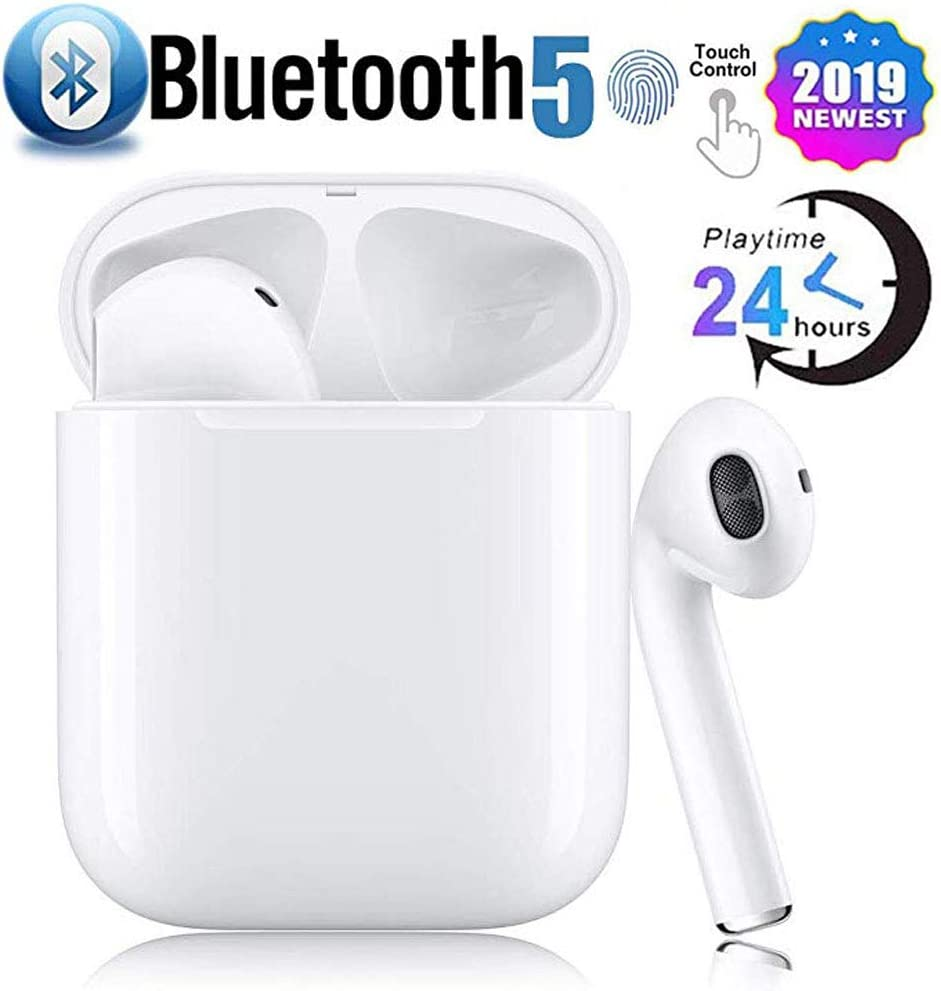 Bluetooth 5.0 Wireless Earbuds with Charging Case Waterproof TWS Stereo Headphones in-Ear Built-in Mic Headset Premium Sound with Deep Bass for Sport Earphones Headphones
