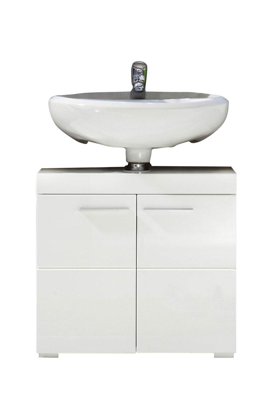 Trendteam 1393-301-01 Mobiletto da arredobagno, 60 x 56 x 34 cm, ante lucide, Bianco