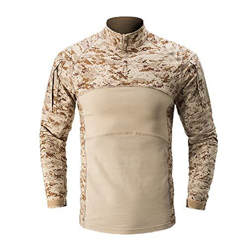 AKARMY Men's Tactical Military Combat Long Sleeve Camo Shirt with 1/4 Zipper 112 Desert