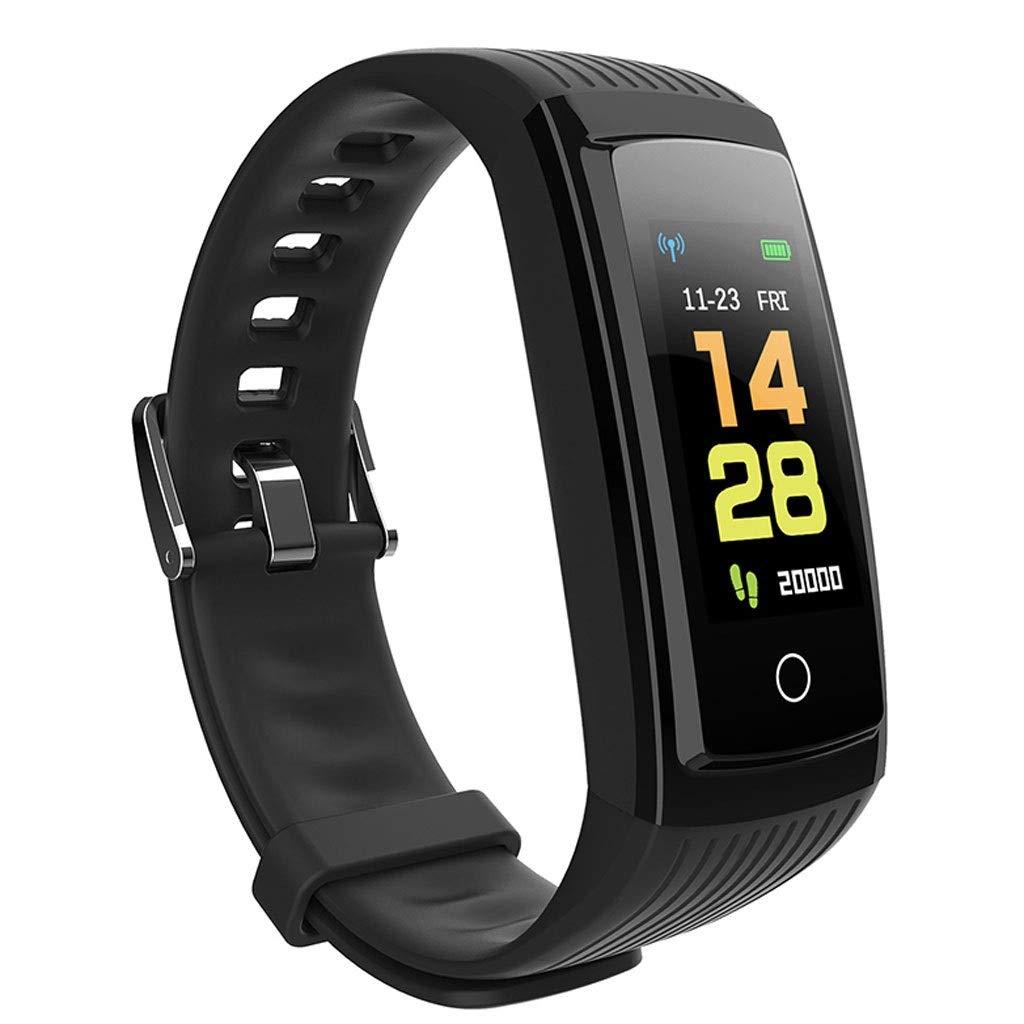 YangMi Sports Bracelet- Student Smart Color Screen Sports Bracelet Multi-Function Monitoring Healthy Sleep Sports Bracelet Men and Women (Color : Black)