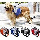 abcGoodefg® Dog Backpack Outdoor Adjustable Saddlebag Style Dog Accessory, Large Capacity for Guide Dog, Police Dog Outdoor Adventure, Hiking Travel & Transport/Carriage. (Blue, L)