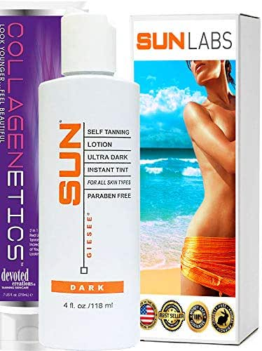 DEVOTED CREATIONS Collagenetics 2-in-1 Red Light Therapy Prep & Tanning Lotion - 8.5 oz. + SUN LABORATORIES Ultra Dark Self Tan Lotion (4 oz) Self Tanner - Natural Sunless Tanning