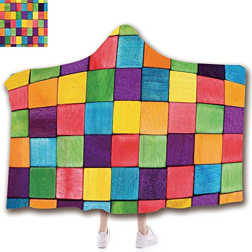 Fashion Blanket Ancient China Decorations Blanket Wearable Hooded Blanket,Unisex Swaddle Blankets for Babies Newborn by,Blocks Abstract Cube Shapes Entertaining Vibrant,Adult Style Children Style ()