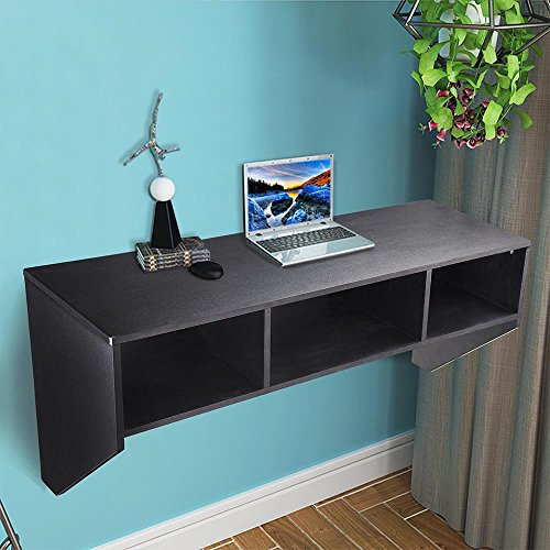 yescom wall mounted floating desk with storage 80lbs weight capacity computer laptop home office. Black Bedroom Furniture Sets. Home Design Ideas