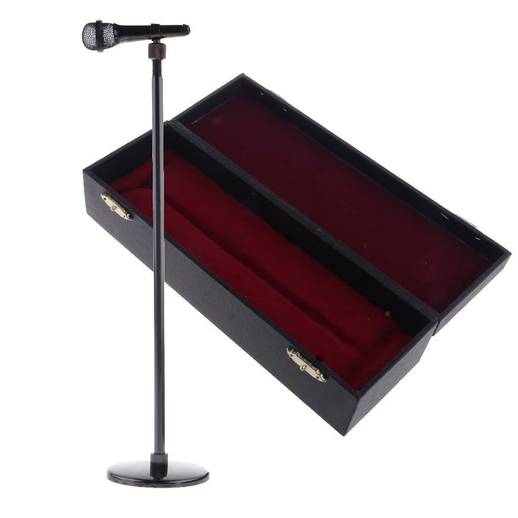 1//6 De Cuivre R/églable Microphone Mod/èle avec Support Instrument De Musique D/écor pour Figurines 12 Pouces Poup/ées Accessoire Noir