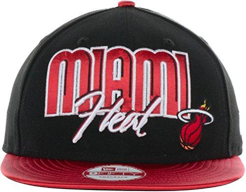 - Miami Heat Satin S'Applique New Era 9Fifty NBA HWC Snapback Cap Hat (Medium/Large, Black/Red)