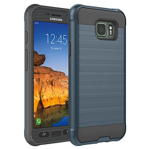 S7 Active Case, Samsung Galaxy S7 Active Case, ROSEBONO 2-Piece Style [Shock Proof] Slim Metal Brush Texture Protective Hybrid Defender Armor Case Cover for Samsung S7 Active (Navy)