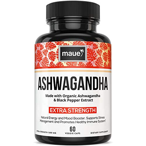 Organic Ashwagandha Capsules - 1300MG with Black Pepper Extract - 100% Pure Root Ashwagandha Powder - Natural Stress & Anxiety Relief Supplements, Mood Support, Thyroid, Immune and Adrenal Support - 6