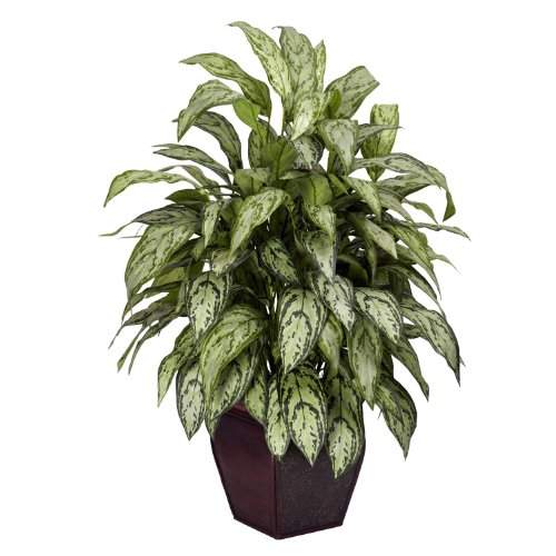 Nearly Natural 6693 Silver Queen with Planter Decorative Silk Plant, Green by Nearly Natural