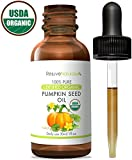 Pumpkin Seed Oil (1oz) USDA Certified Organic, 100% Pure, Cold Pressed by RejuveNaturals. Boost Hair Growth for Eyelashes, Eyebrows & Hair. Overactive Bladder Control for Men & Women. Skin Moisturizer
