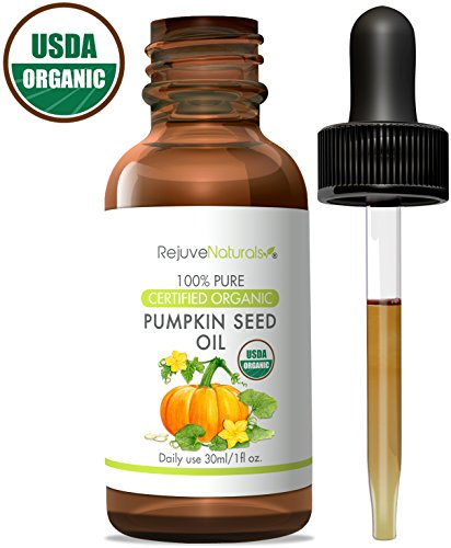 Pumpkin Oil Seed (Pumpkin Seed Oil (1oz) USDA Certified Organic, 100% Pure, Cold Pressed by RejuveNaturals. Boost Hair Growth for Eyelashes, Eyebrows & Hair. Overactive Bladder Control for Men & Women. Skin Moisturizer)