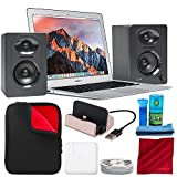 Apple 13.3'' MacBook Air 128GB MQD32LL/A (Mid 2017, Silver) and Premium Accessory Bundle with Studio Monitors + Laptop Sleeve + iPhone Charging Dock + LCD Cleaning Kit + Fibertique Cloth