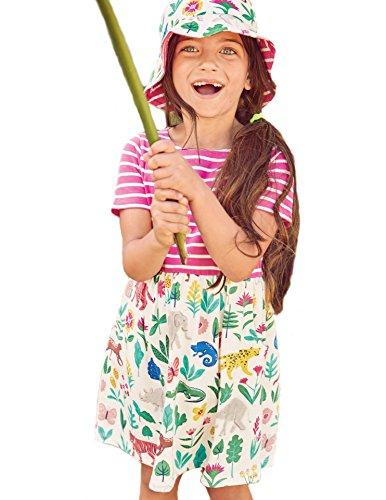 esrtyeryh Kid Costume Girls Cotton Casual Short Sleeve Floral Cartoon Striped Animal Print Dress