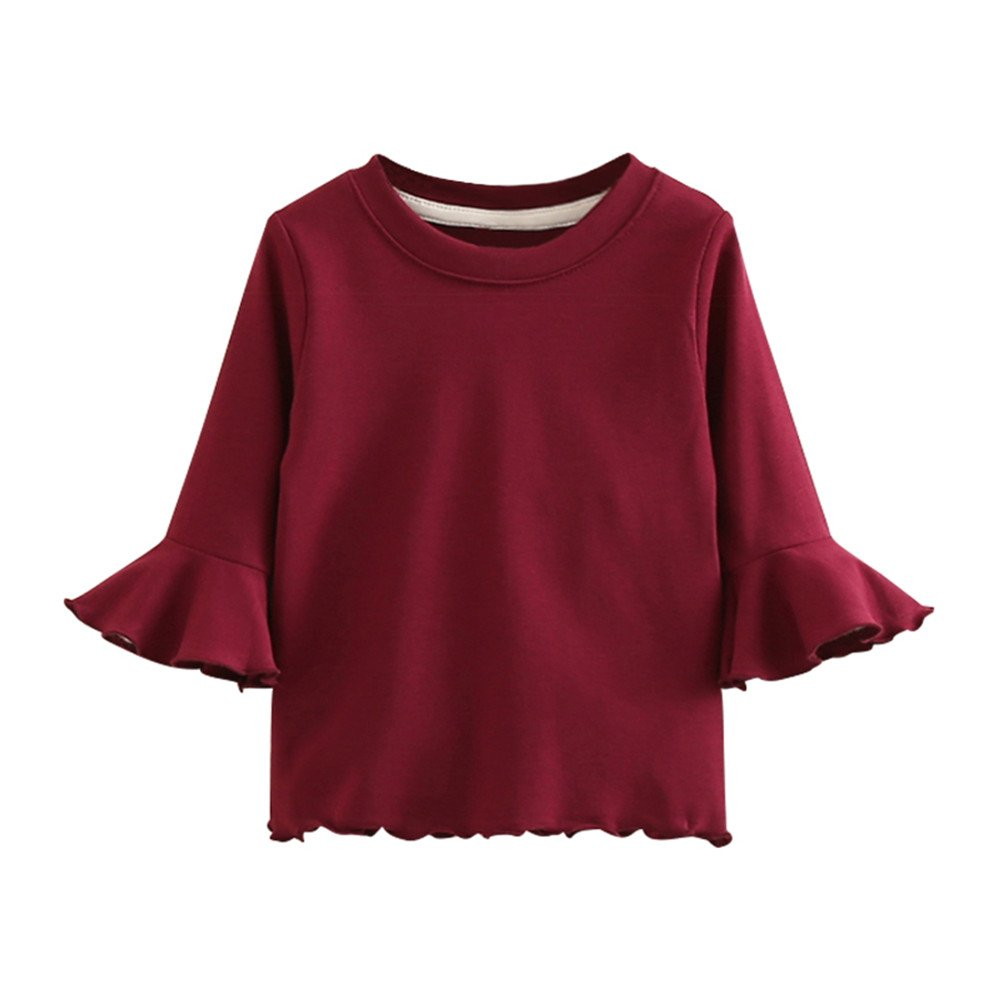 SPRMAG Kids Girl Solid Long Sleeve T-shirts Tee Tops Crewneck Blouse Made in China