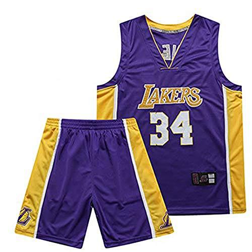 (YDD Men Basketball Jerseys Set - NBA Lakers O'Neal #34 Basketball Uniform Summer Embroidered Shirt Vest Shorts Shirt Training Wear for Boys & Girls,Blue,L(65~75kg))