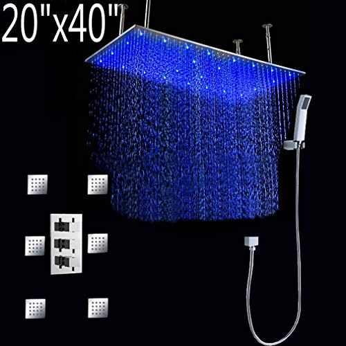 Cascada Luxury Bathroom Shower Set with Luxury Water Power LED Shower Head (Ceiling Mount) Rainfall Thermostatic 6 Massage Jets Spray Body Shower Set (20