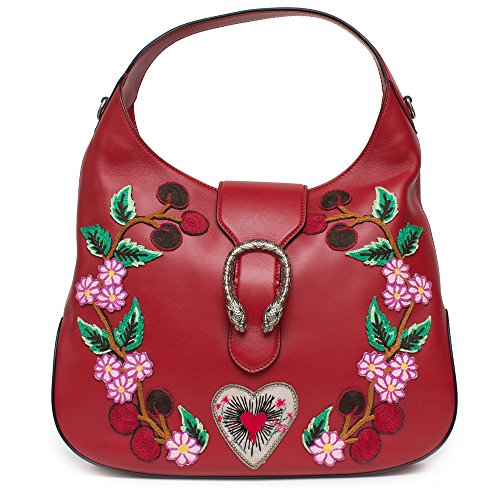 (Gucci Red Dionysus Embroidery Cherry Blossoms Leather Shoulder Bag Medium Hobo Handbag New)