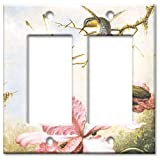 Double Gang Rocker Wall Plate - Heade: Orchids & Hummingbirds